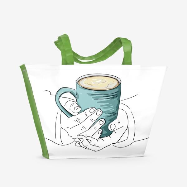Пляжная сумка «Чашка кофе, какао, чая в руках. Горячий напиток в кружке согревает душу»