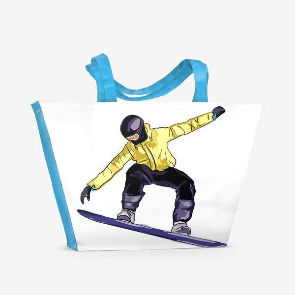 Пляжная сумка «Сноубордист в полете. Спортсмен катается на доске для сноуборда»