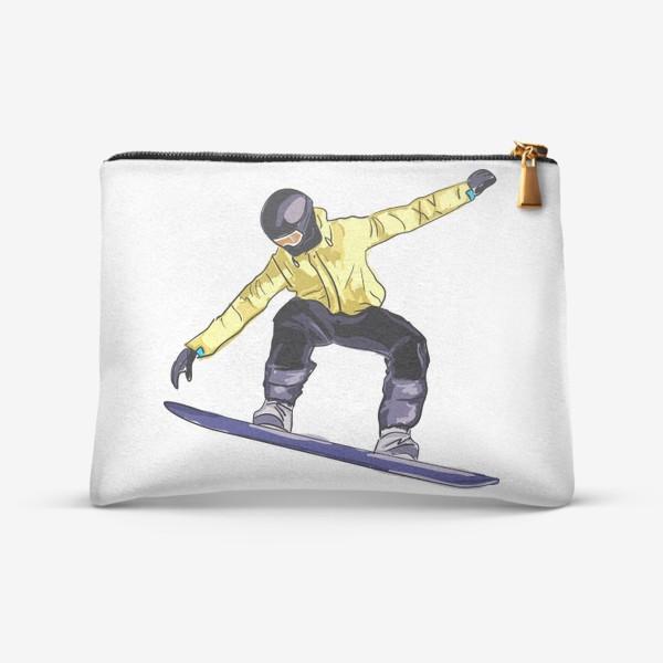 Косметичка «Сноубордист в полете. Спортсмен катается на доске для сноуборда»
