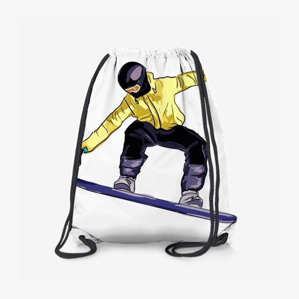 Рюкзак «Сноубордист в полете. Спортсмен катается на доске для сноуборда»