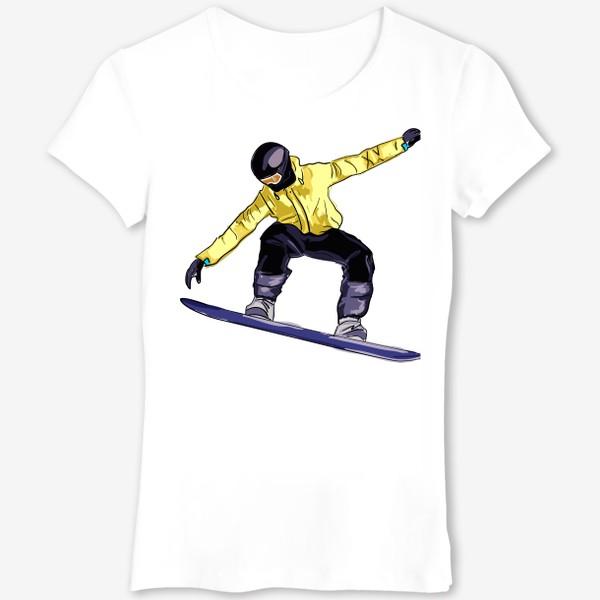 Футболка «Сноубордист в полете. Спортсмен катается на доске для сноуборда»