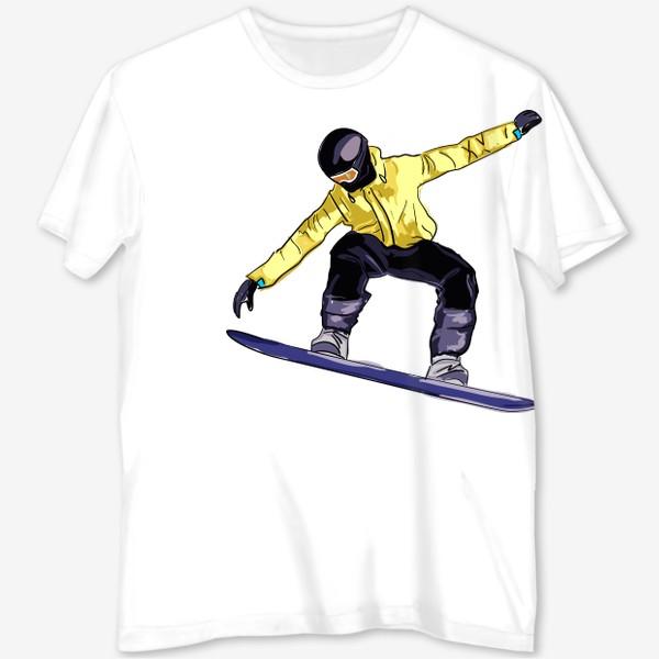 Футболка с полной запечаткой «Сноубордист в полете. Спортсмен катается на доске для сноуборда»