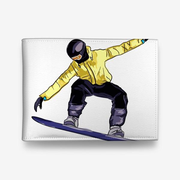 Кошелек «Сноубордист в полете. Спортсмен катается на доске для сноуборда»