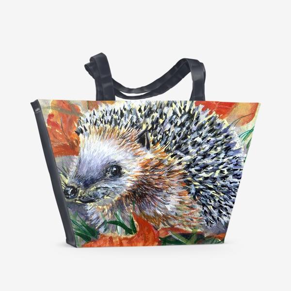 Пляжная сумка «Ежик в осеннем лесу»