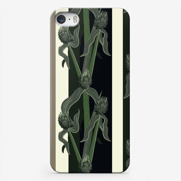 Чехол iPhone «Полосатый узор с растениями»
