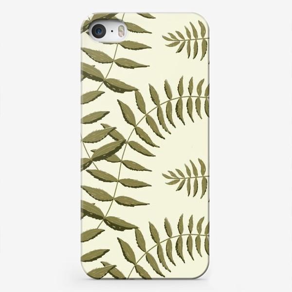 Чехол iPhone «Узор с травой на белом фоне»