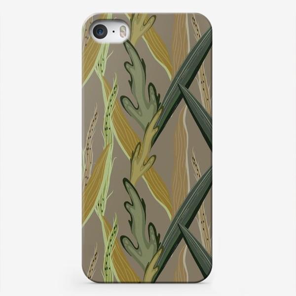 Чехол iPhone «Узор с травой на сером фоне»