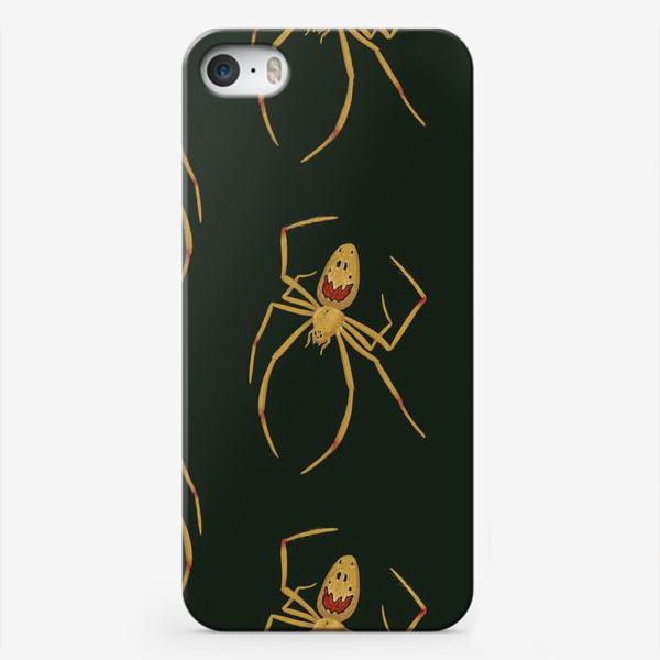 Чехол iPhone «Ядовитый паук на зеленом фоне»