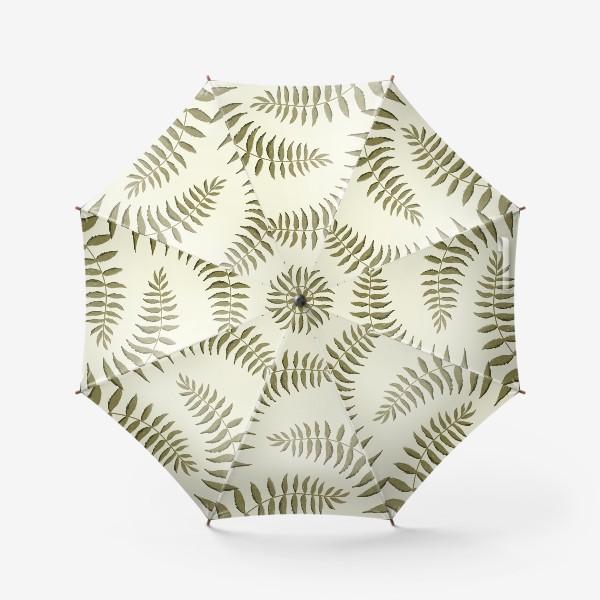 Зонт «Узор с травой на белом фоне»