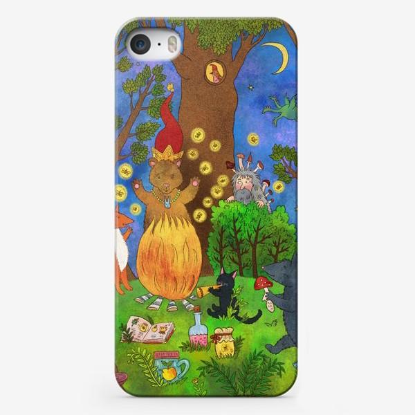 Чехол iPhone «Милые животные у костра»
