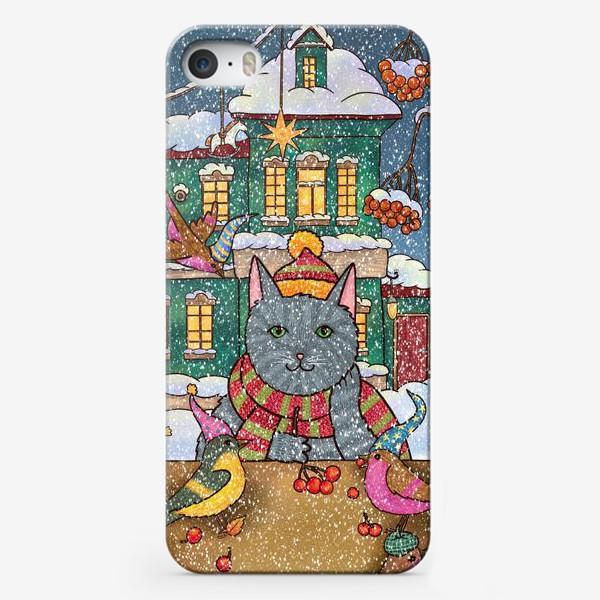 Чехол iPhone «Милый кот и птицы»