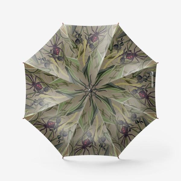 Зонт «Узор с насекомыми в траве на сером фоне»