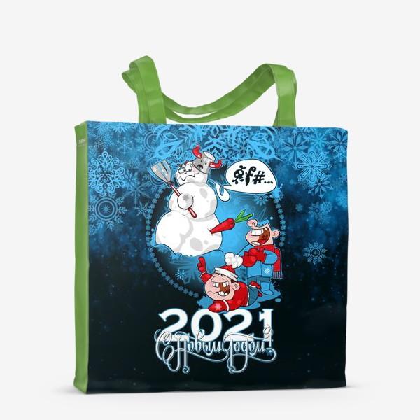 Сумка-шоппер «снеговик 2021»