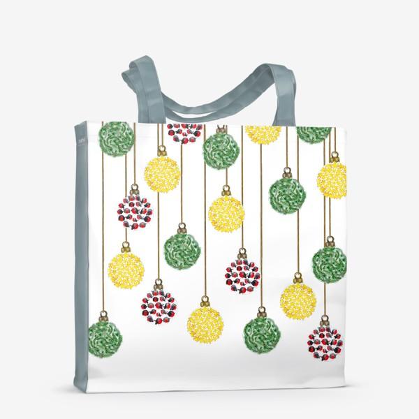 Сумка-шоппер «Разноцветные новогодние ёлочные шары»