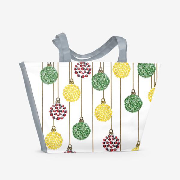 Пляжная сумка «Разноцветные новогодние ёлочные шары»