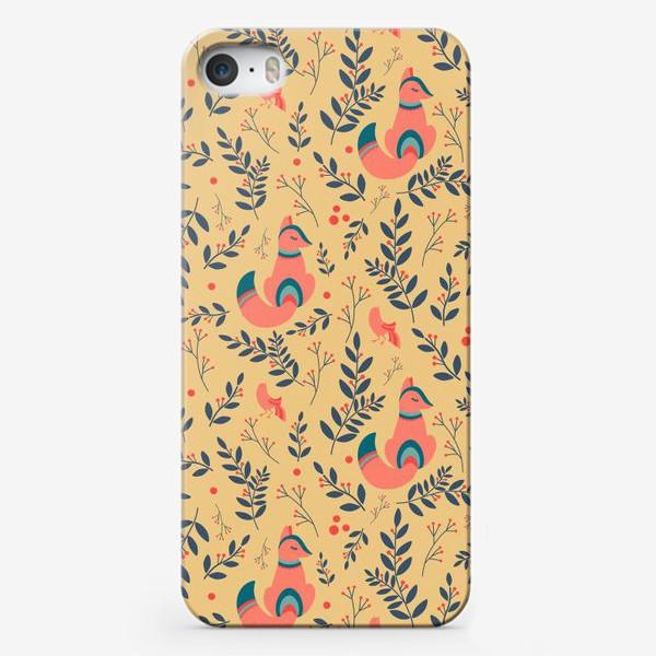 Чехол iPhone «Паттерн сказочный лес, лисички, птицы и ягоды»