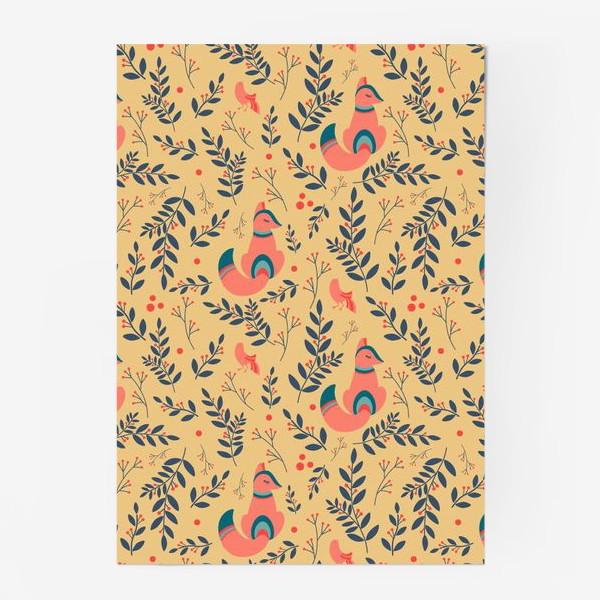 Постер «Паттерн сказочный лес, лисички, птицы и ягоды»