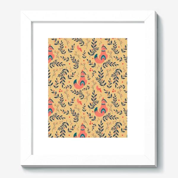 Картина «Паттерн сказочный лес, лисички, птицы и ягоды»