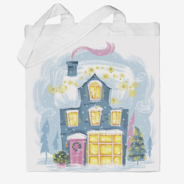 Сумка хб «Новогодний зимний дом. Christmass shop»
