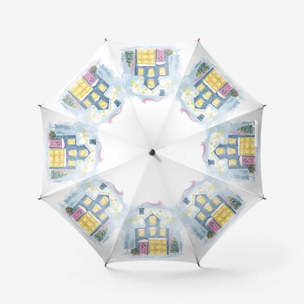 Зонт «Новогодний зимний дом. Christmass shop»