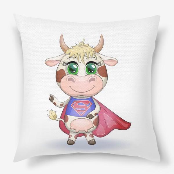 Подушка «Бык, символ 2021 года, корова супер-герой спешит на помощь»