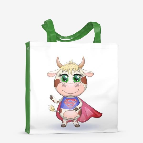 Сумка-шоппер «Бык, символ 2021 года, корова супер-герой спешит на помощь»