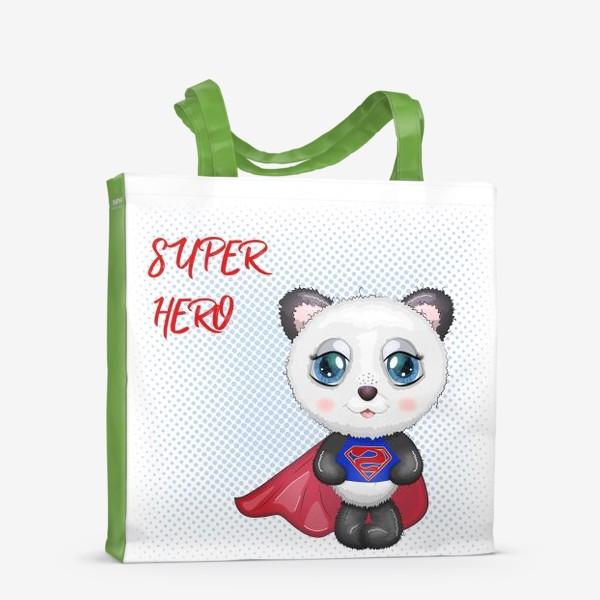 Сумка-шоппер «Панда супер-герой в плаще летит на помощь»