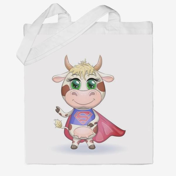 Сумка хб «Бык, символ 2021 года, корова супер-герой спешит на помощь»