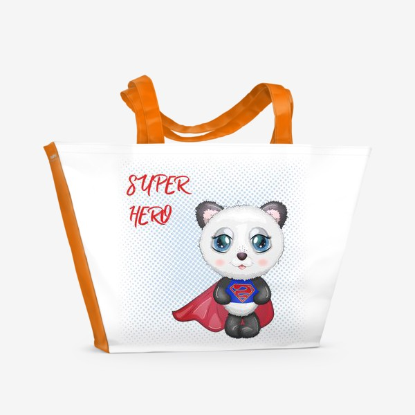 Пляжная сумка «Панда супер-герой в плаще летит на помощь»