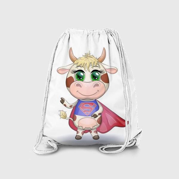 Рюкзак «Бык, символ 2021 года, корова супер-герой спешит на помощь»