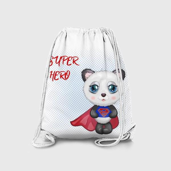 Рюкзак «Панда супер-герой в плаще летит на помощь»