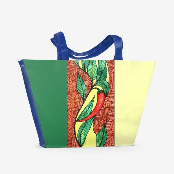 Пляжная сумка «Красные острые перцы чили Ар нуво»