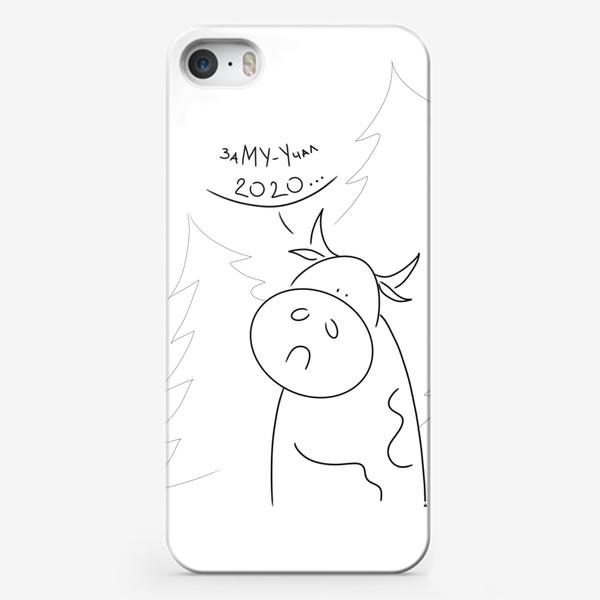 Чехол iPhone «Замууучал 2020. Бык с елками. Новый год 2021»