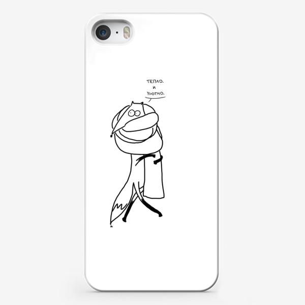 Чехол iPhone «Лисица  шарфе. Тепло и уютно»