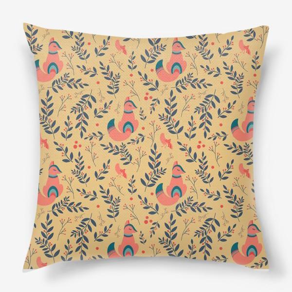 Подушка «Паттерн сказочный лес, лисички, птицы и ягоды»