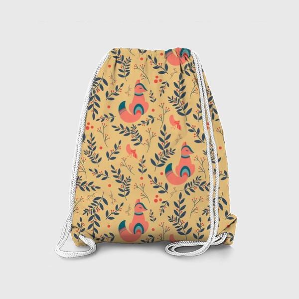Рюкзак «Паттерн сказочный лес, лисички, птицы и ягоды»