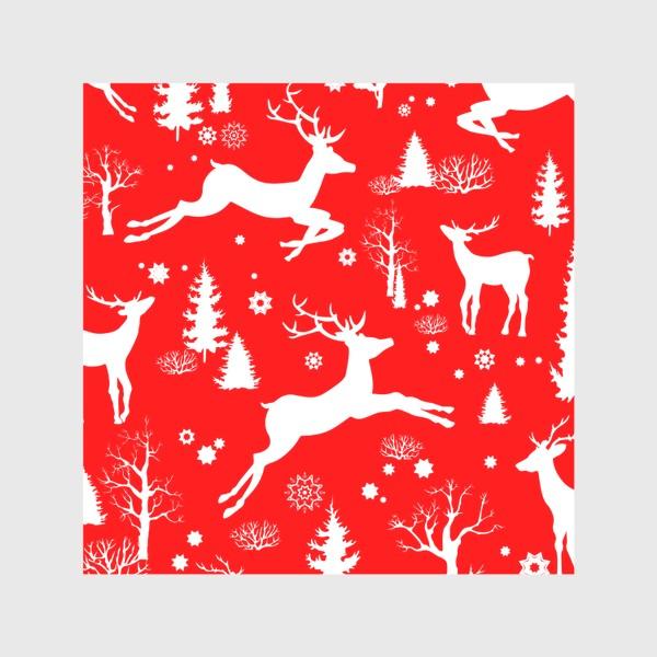 Скатерть «Рождественский лес с оленями на красном фоне»