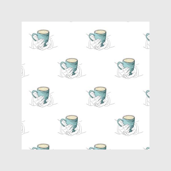 Скатерть «Согревающий напиток в руках. Паттерн с бирюзовой чашкой чая, кофе или какао»