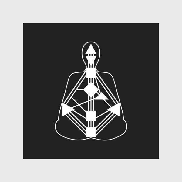 Скатерть «Дизайн человека. Белый бодиграф на черном фоне»