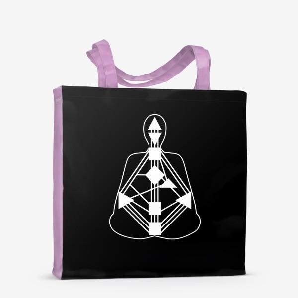 Сумка-шоппер «Дизайн человека. Белый бодиграф на черном фоне»