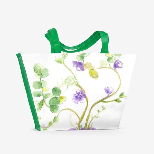 Пляжная сумка «нежное зеленое растение в сиреневом горшке»