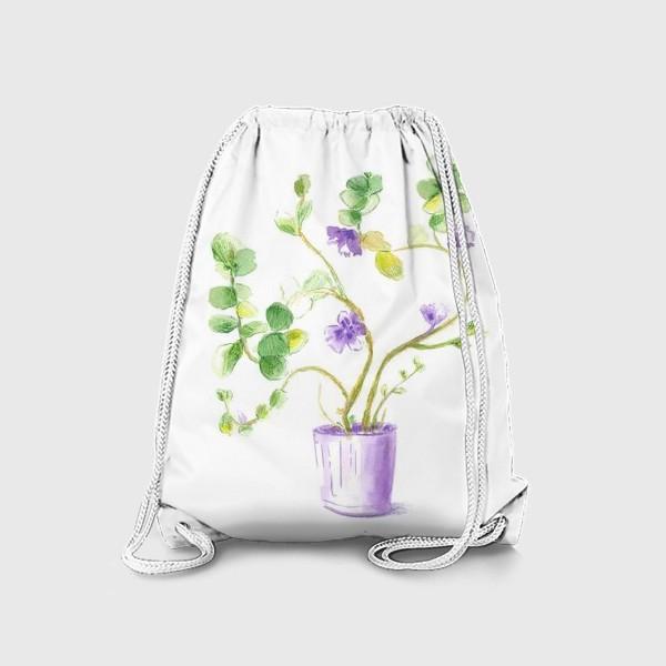 Рюкзак «нежное зеленое растение в сиреневом горшке»