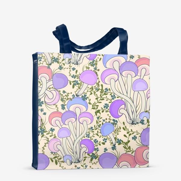 Сумка-шоппер «Волшебные грибы в траве.»