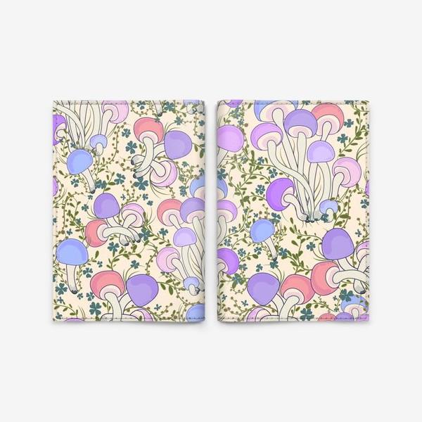 Обложка для паспорта «Волшебные грибы в траве.»