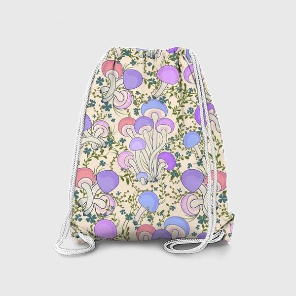 Рюкзак «Волшебные грибы в траве.»