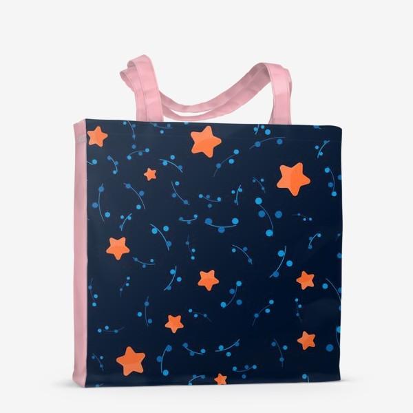 Сумка-шоппер «Оранжевые звёзды в ночном небе. »