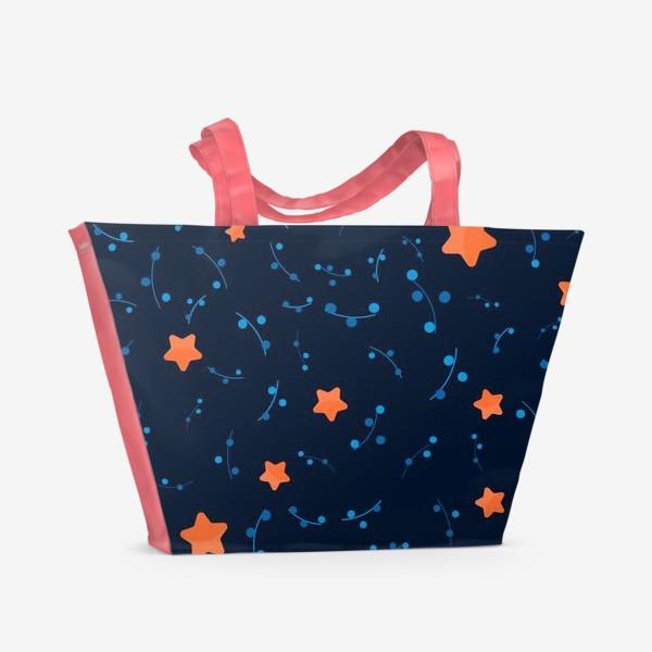 Пляжная сумка «Оранжевые звёзды в ночном небе. »