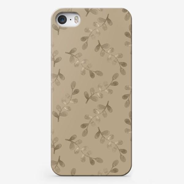 Чехол iPhone «Листики на бежевом фоне»