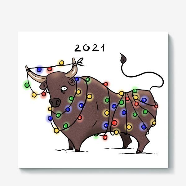 Холст «Бык с гирляндой. 2021 »