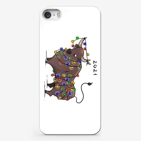 Чехол iPhone «Бык с гирляндой. 2021 »